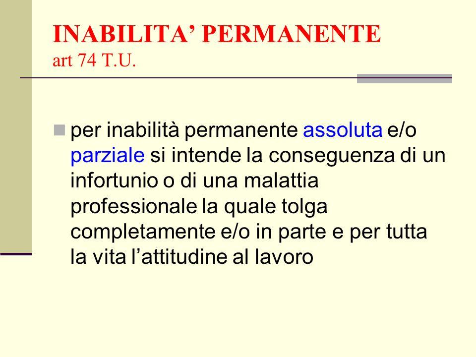 INABILITA' PERMANENTE art 74 T.U.