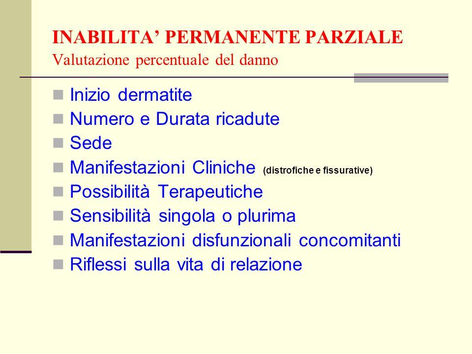 INABILITA' PERMANENTE PARZIALE Valutazione percentuale del danno