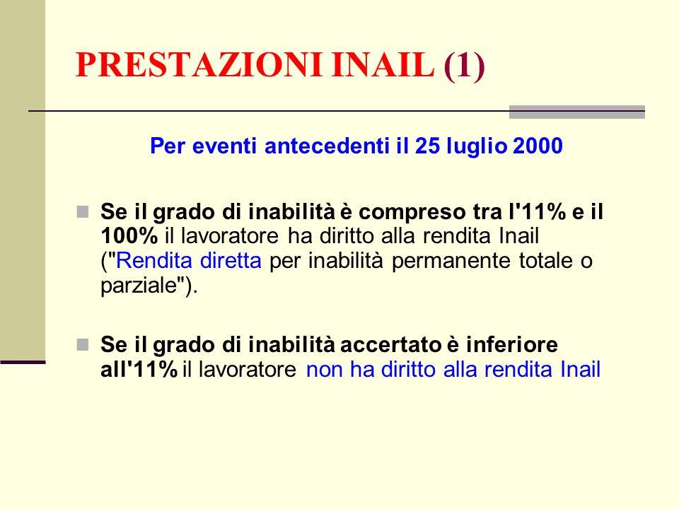 Per eventi antecedenti il 25 luglio 2000