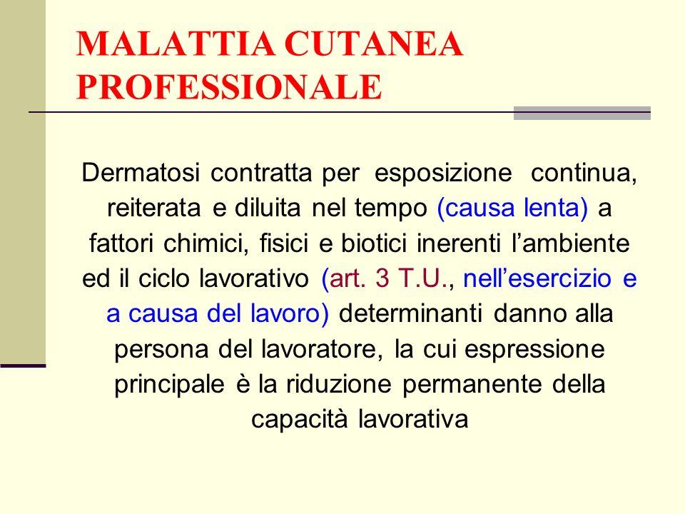 MALATTIA CUTANEA PROFESSIONALE