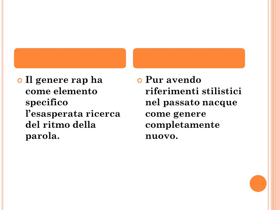 Il genere rap ha come elemento specifico l'esasperata ricerca del ritmo della parola.