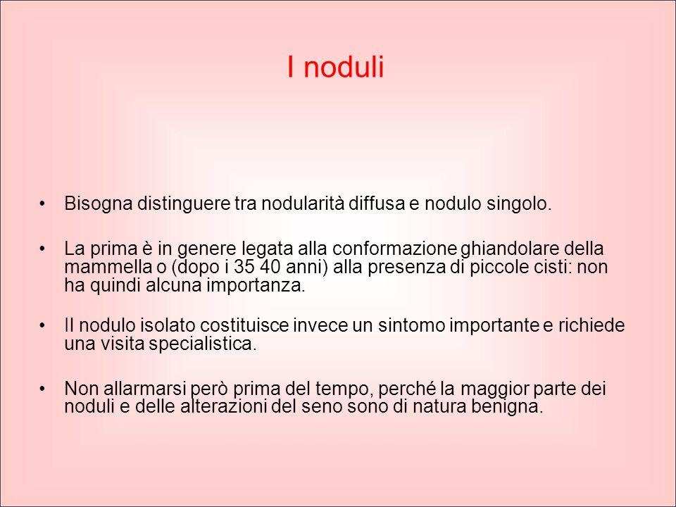 I noduli Bisogna distinguere tra nodularità diffusa e nodulo singolo.