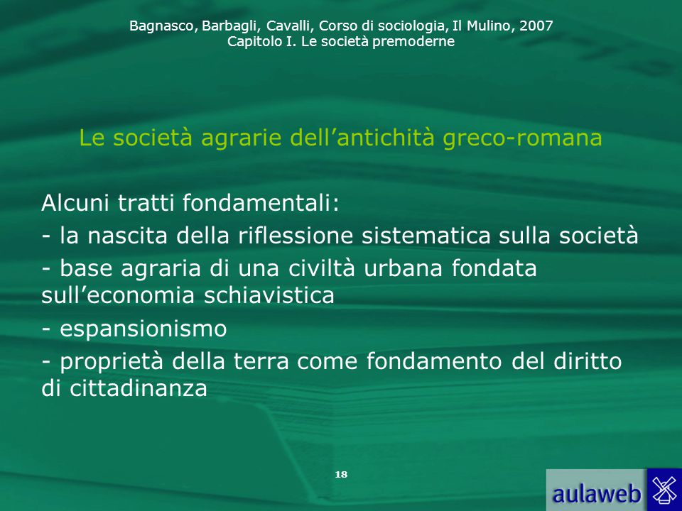 Le società agrarie dell'antichità greco-romana