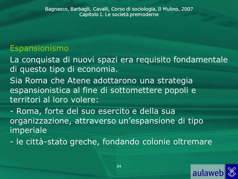 Espansionismo La conquista di nuovi spazi era requisito fondamentale di questo tipo di economia.