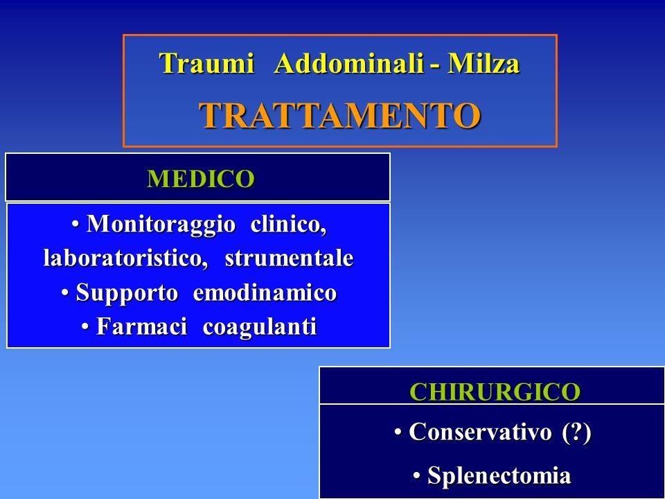 TRATTAMENTO Traumi Addominali - Milza MEDICO
