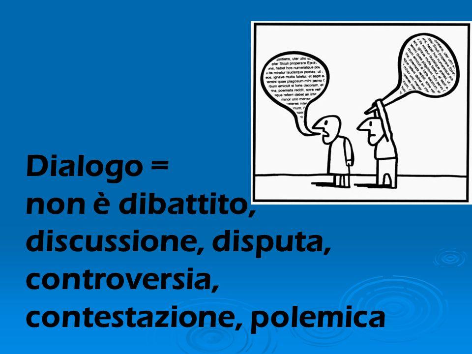 Dialogo = non è dibattito, discussione, disputa, controversia, contestazione, polemica