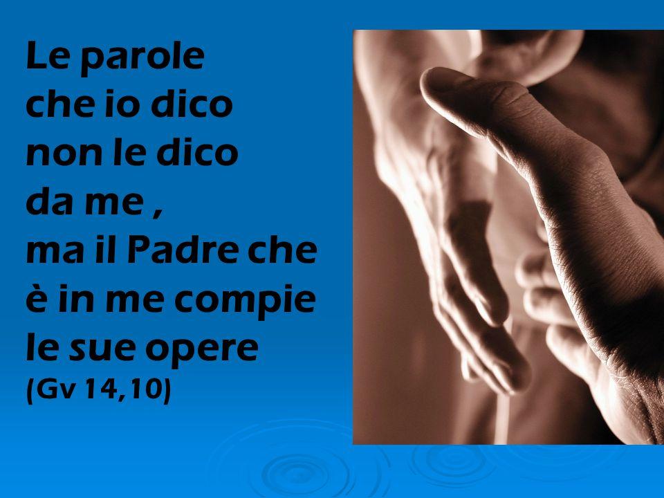 Le parole che io dico non le dico da me , ma il Padre che è in me compie le sue opere (Gv 14,10)