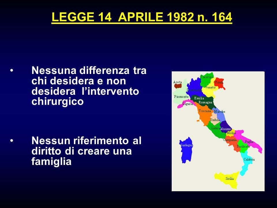 LEGGE 14 APRILE 1982 n. 164 Nessuna differenza tra chi desidera e non desidera l'intervento chirurgico.