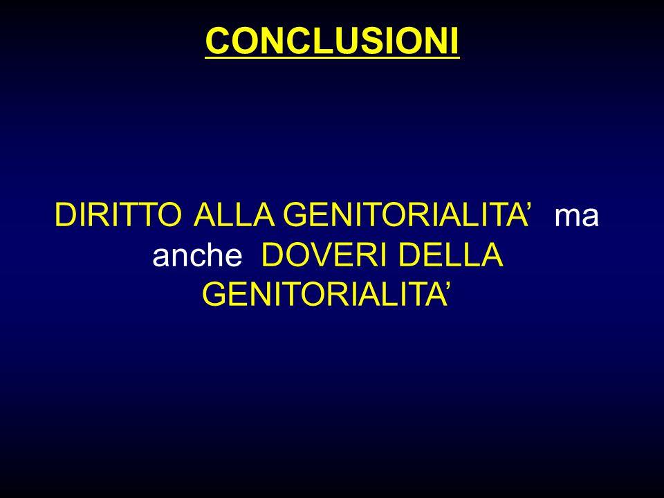 DIRITTO ALLA GENITORIALITA' ma anche DOVERI DELLA GENITORIALITA'