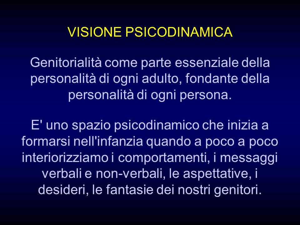 VISIONE PSICODINAMICA Genitorialità come parte essenziale della personalità di ogni adulto, fondante della personalità di ogni persona.