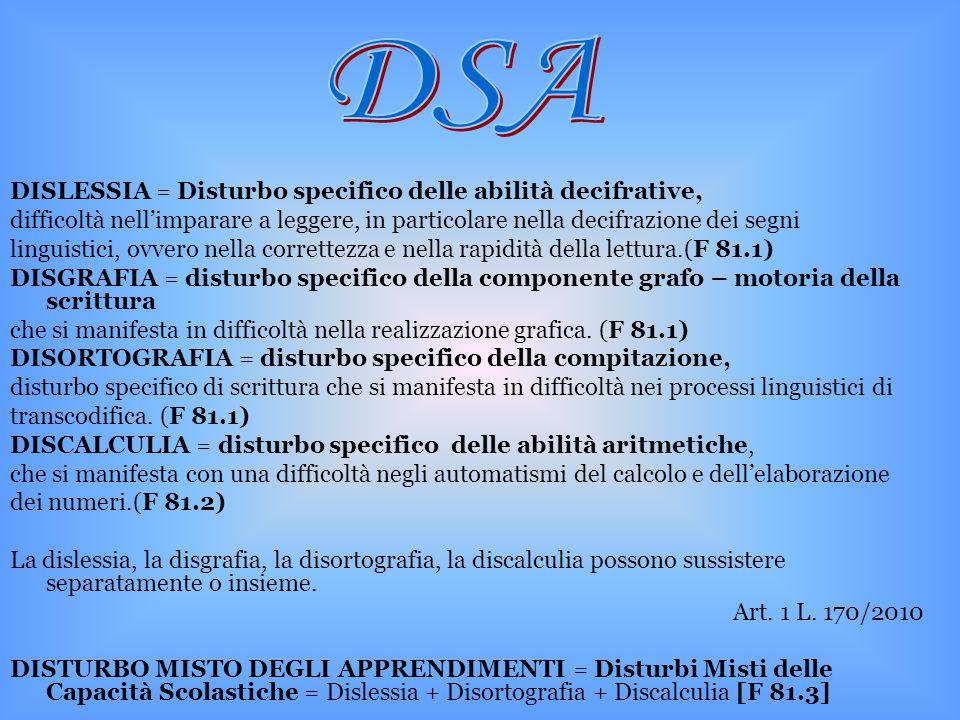 DSA DISLESSIA = Disturbo specifico delle abilità decifrative,