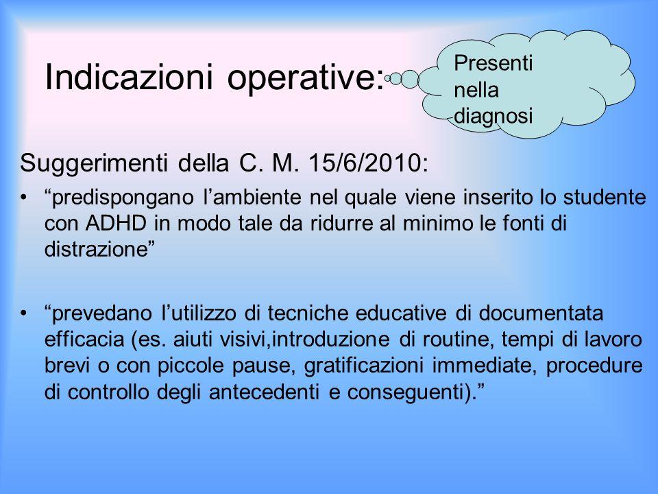 Indicazioni operative: