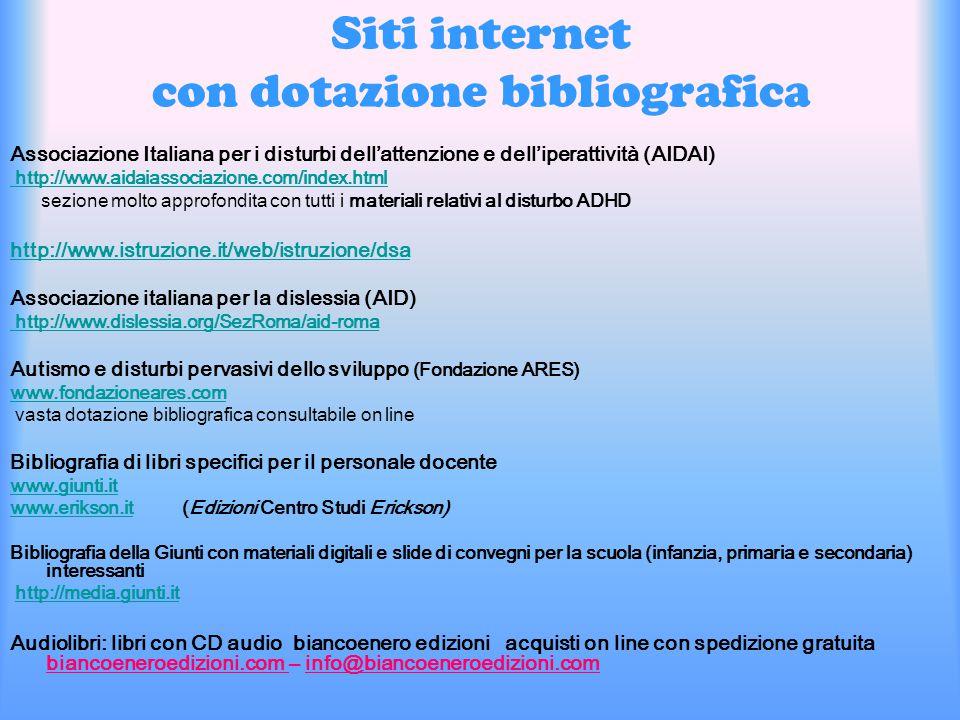 Siti internet con dotazione bibliografica