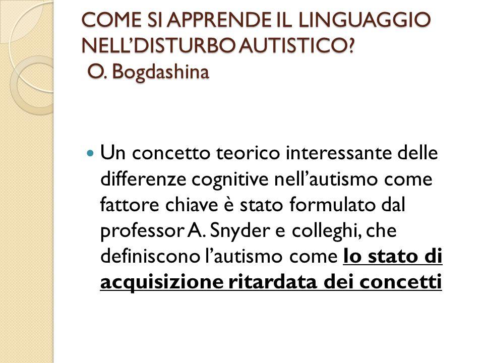 COME SI APPRENDE IL LINGUAGGIO NELL'DISTURBO AUTISTICO O. Bogdashina