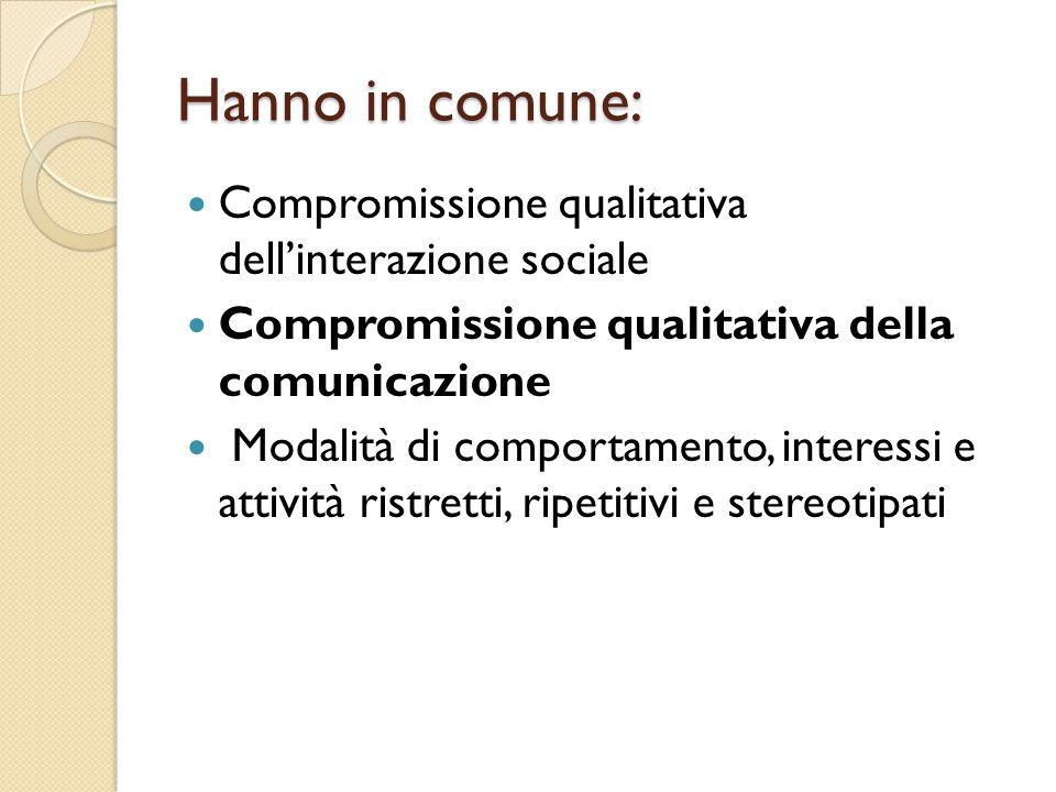 Hanno in comune: Compromissione qualitativa dell'interazione sociale