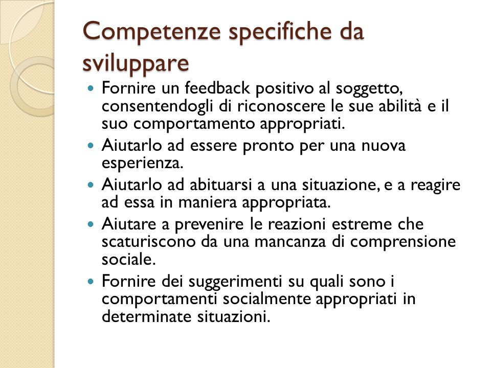 Competenze specifiche da sviluppare