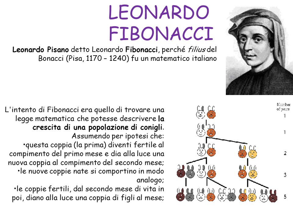 LEONARDO FIBONACCI Leonardo Pisano detto Leonardo Fibonacci, perché filius del Bonacci (Pisa, 1170 – 1240) fu un matematico italiano.