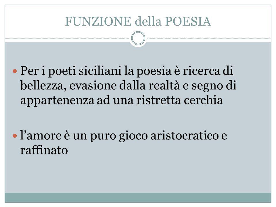 FUNZIONE della POESIA Per i poeti siciliani la poesia è ricerca di bellezza, evasione dalla realtà e segno di appartenenza ad una ristretta cerchia.