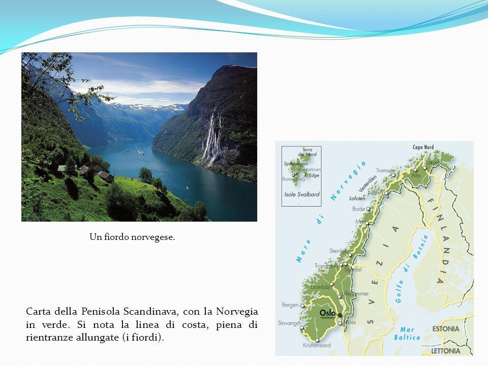 Un fiordo norvegese. Carta della Penisola Scandinava, con la Norvegia in verde.