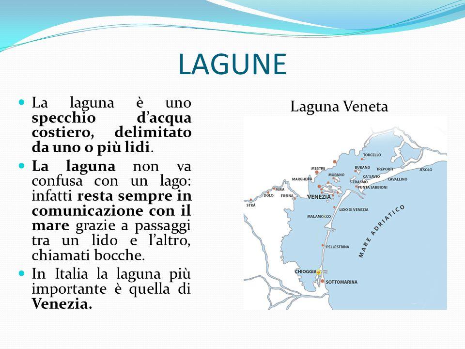 LAGUNE La laguna è uno specchio d'acqua costiero, delimitato da uno o più lidi.
