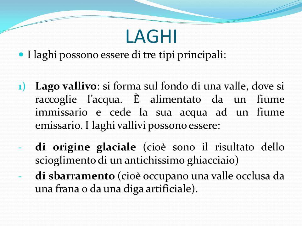 LAGHI I laghi possono essere di tre tipi principali:
