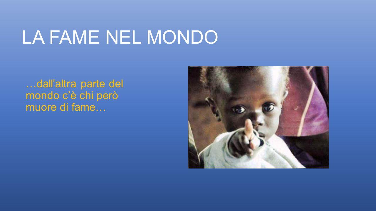 LA FAME NEL MONDO …dall'altra parte del mondo c'è chi però muore di fame…