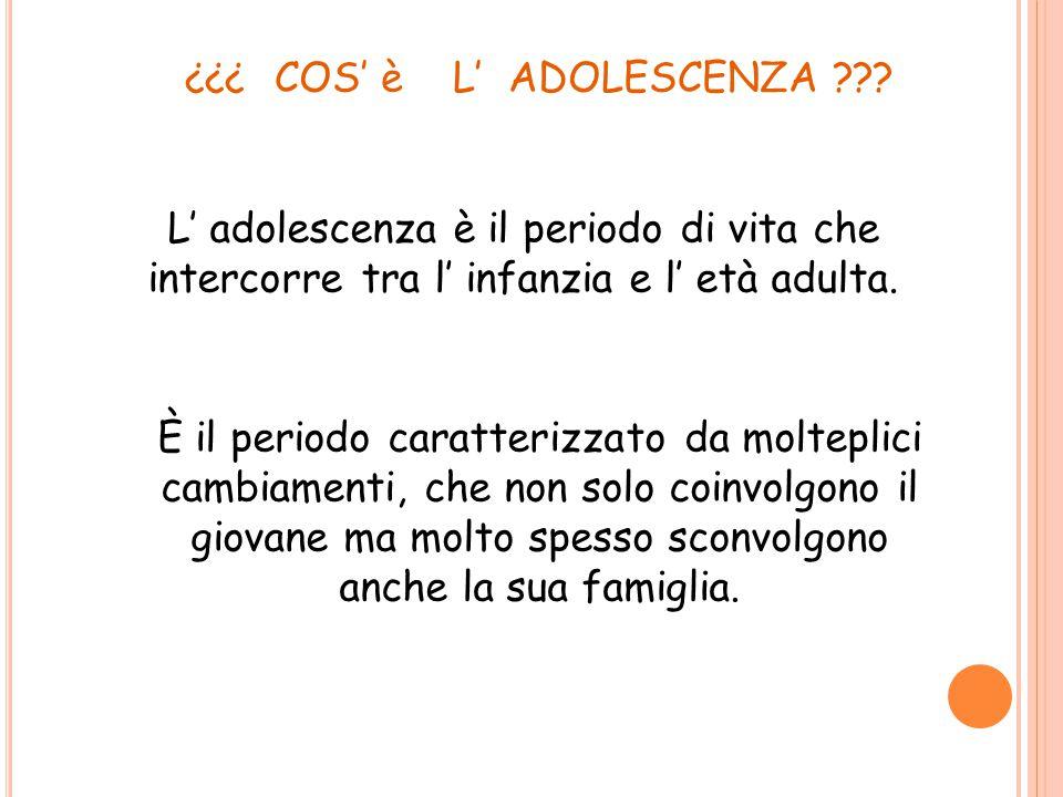 COS' è L' ADOLESCENZA L' adolescenza è il periodo di vita che intercorre tra l' infanzia e l' età adulta.