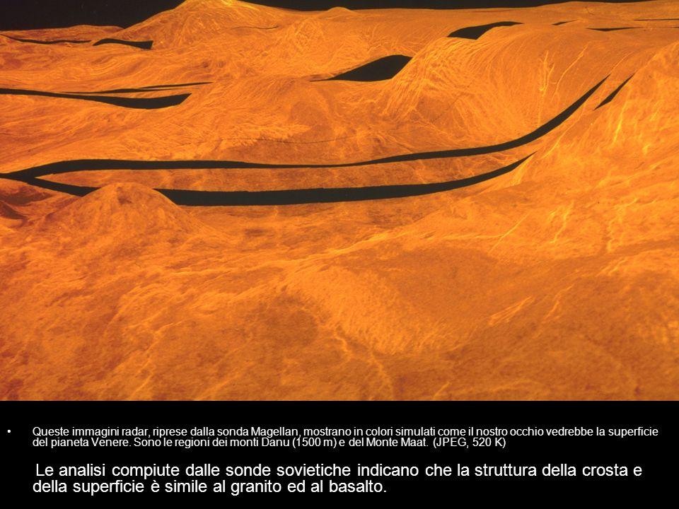 Queste immagini radar, riprese dalla sonda Magellan, mostrano in colori simulati come il nostro occhio vedrebbe la superficie del pianeta Venere. Sono le regioni dei monti Danu (1500 m) e del Monte Maat. (JPEG, 520 K)