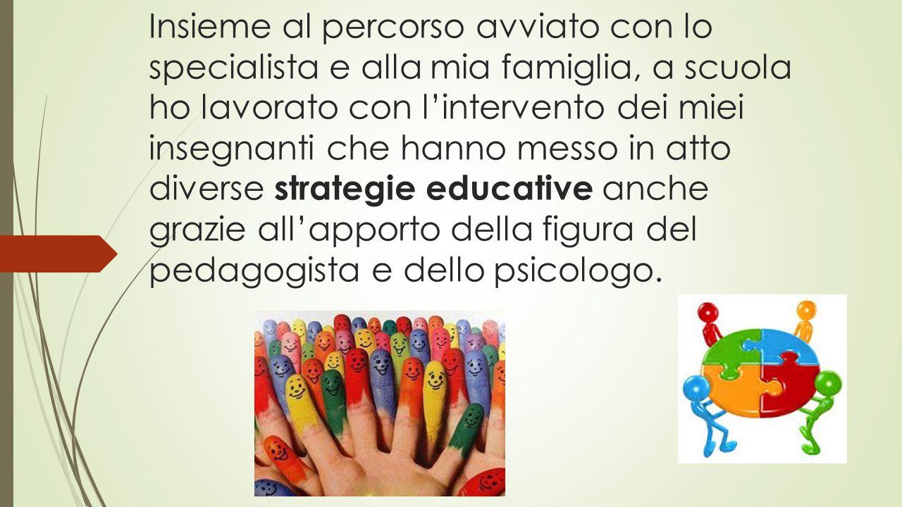 Insieme al percorso avviato con lo specialista e alla mia famiglia, a scuola ho lavorato con l'intervento dei miei insegnanti che hanno messo in atto diverse strategie educative anche grazie all'apporto della figura del pedagogista e dello psicologo.