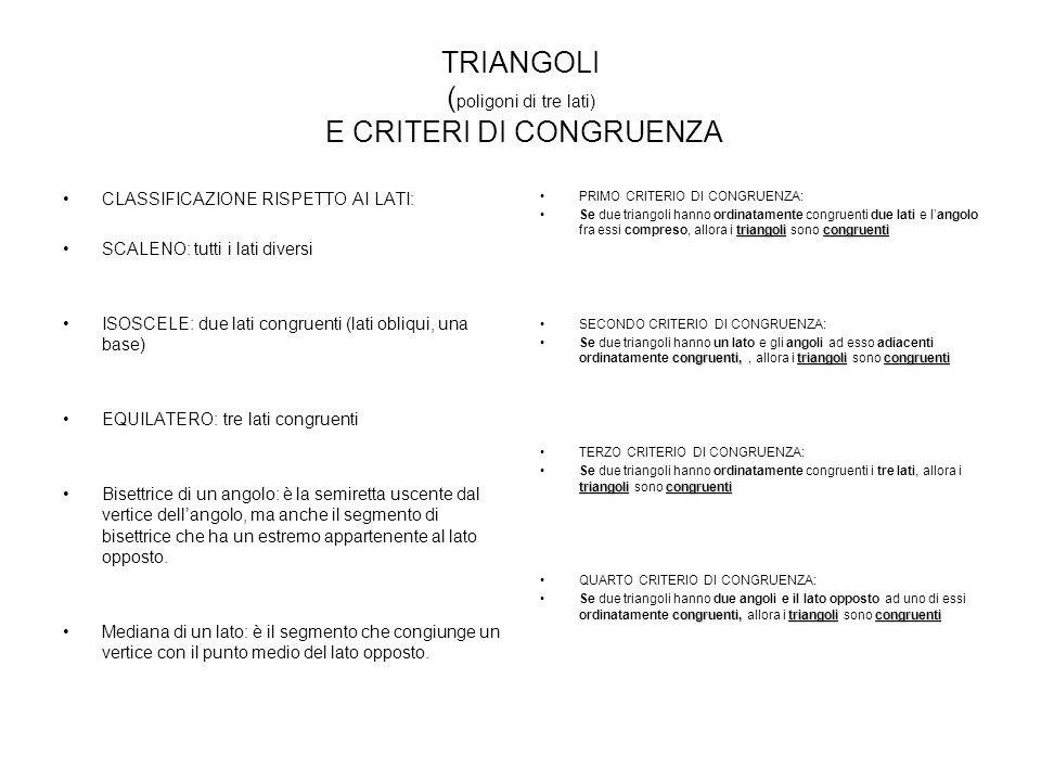 TRIANGOLI (poligoni di tre lati) E CRITERI DI CONGRUENZA
