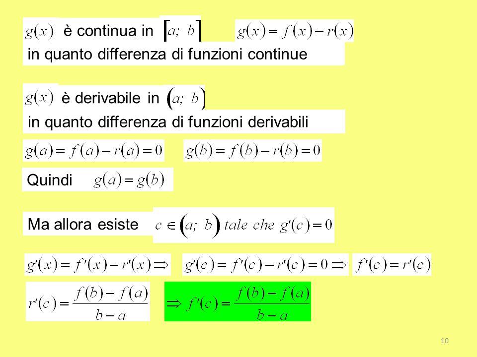 è continua in in quanto differenza di funzioni continue. è derivabile in. in quanto differenza di funzioni derivabili.
