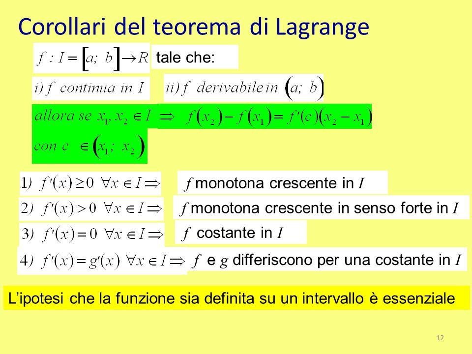 Corollari del teorema di Lagrange