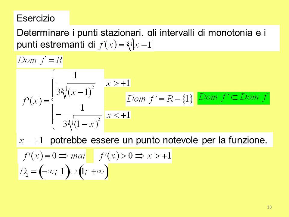 Esercizio Determinare i punti stazionari, gli intervalli di monotonia e i punti estremanti di.