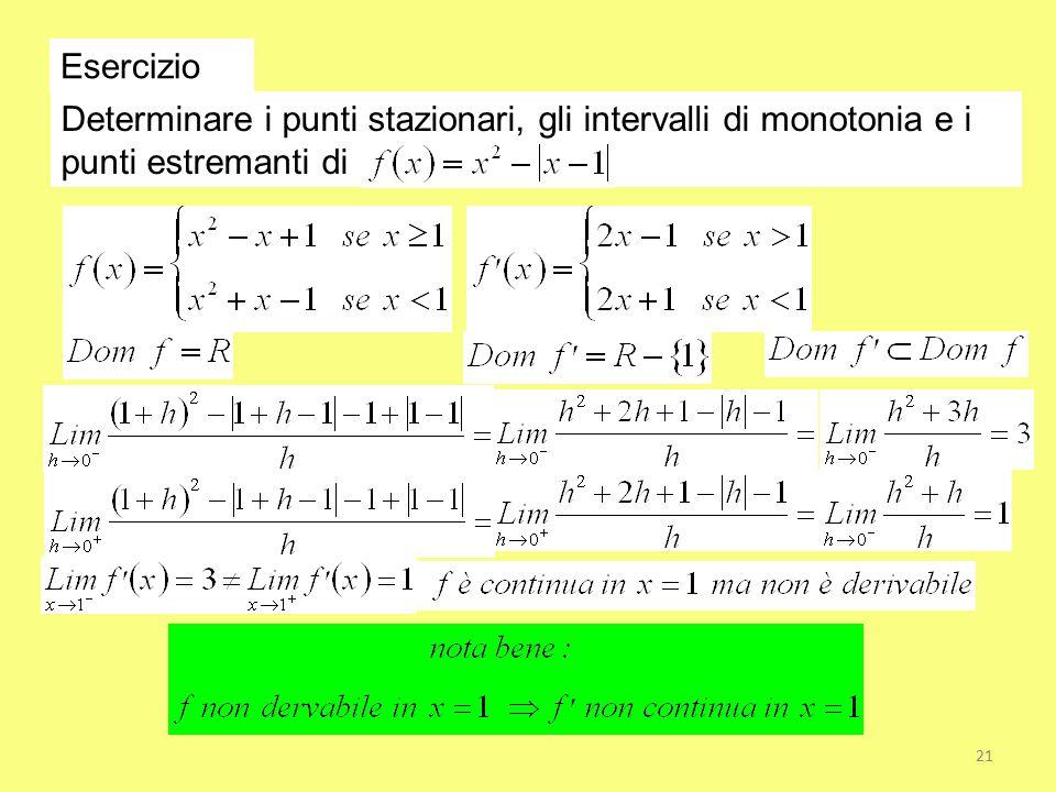 Esercizio Determinare i punti stazionari, gli intervalli di monotonia e i punti estremanti di