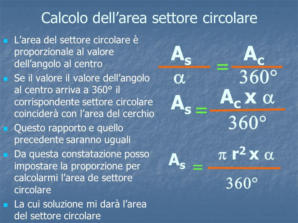 Calcolo dell'area settore circolare
