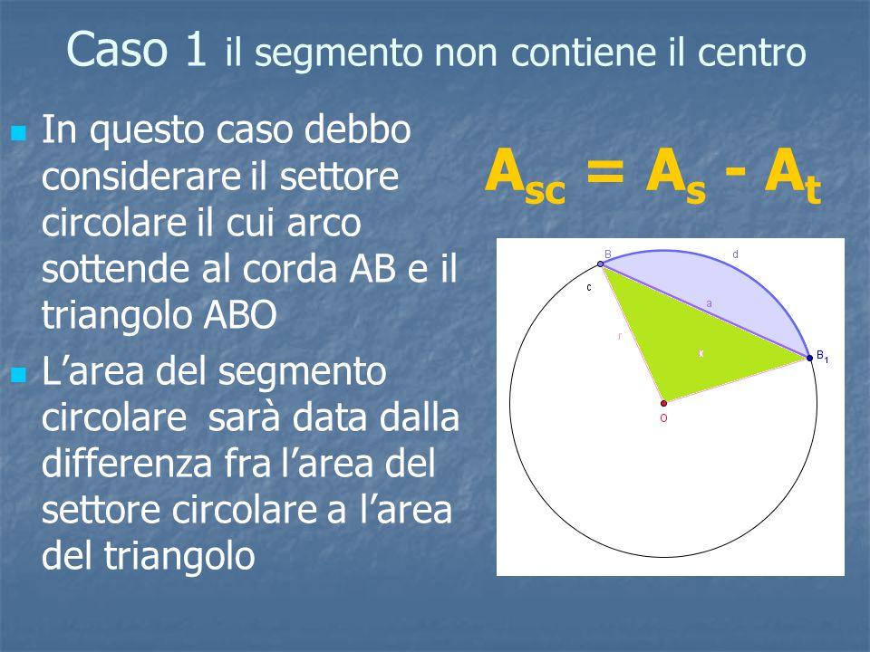 Caso 1 il segmento non contiene il centro