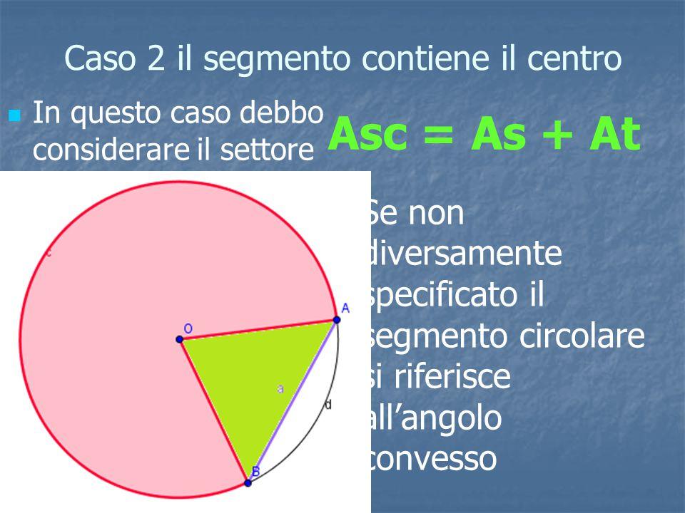 Caso 2 il segmento contiene il centro