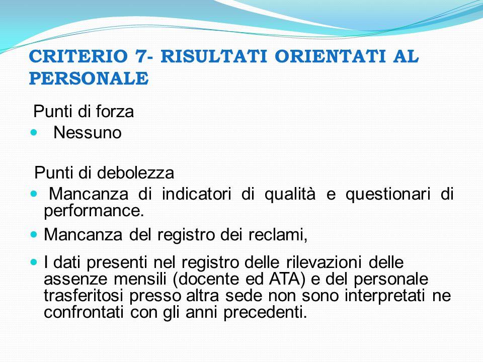 CRITERIO 7- RISULTATI ORIENTATI AL PERSONALE