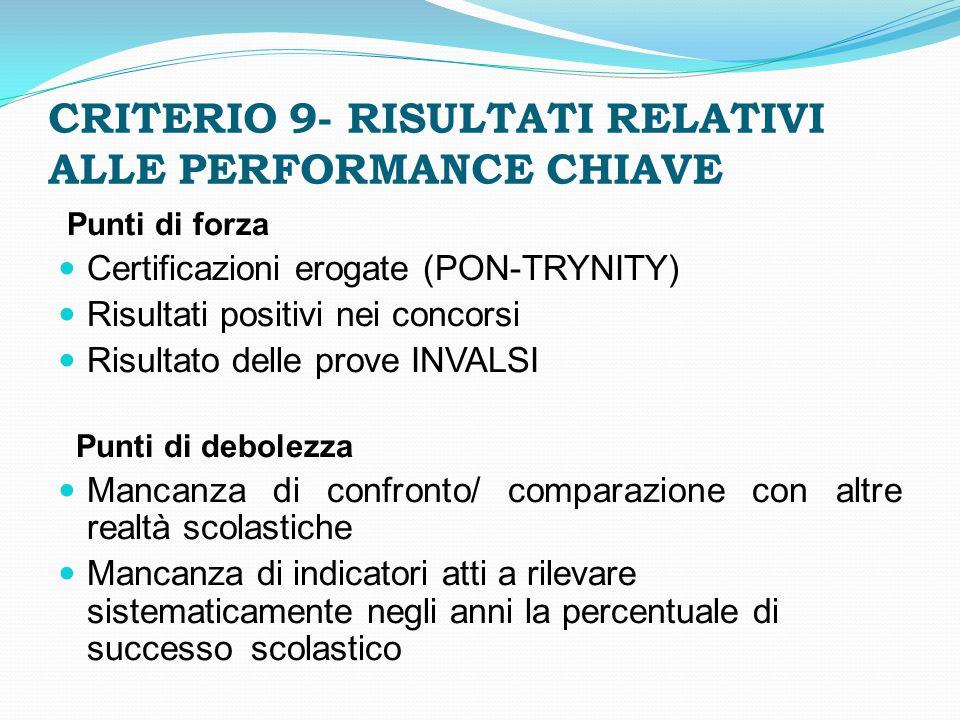 CRITERIO 9- RISULTATI RELATIVI ALLE PERFORMANCE CHIAVE