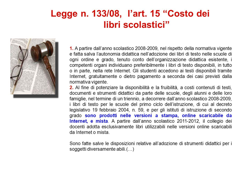 Legge n. 133/08, l'art. 15 Costo dei libri scolastici