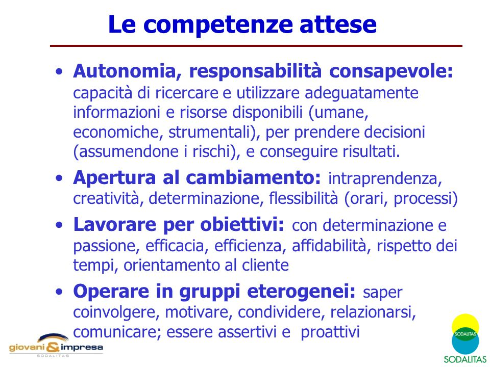 Le competenze attese