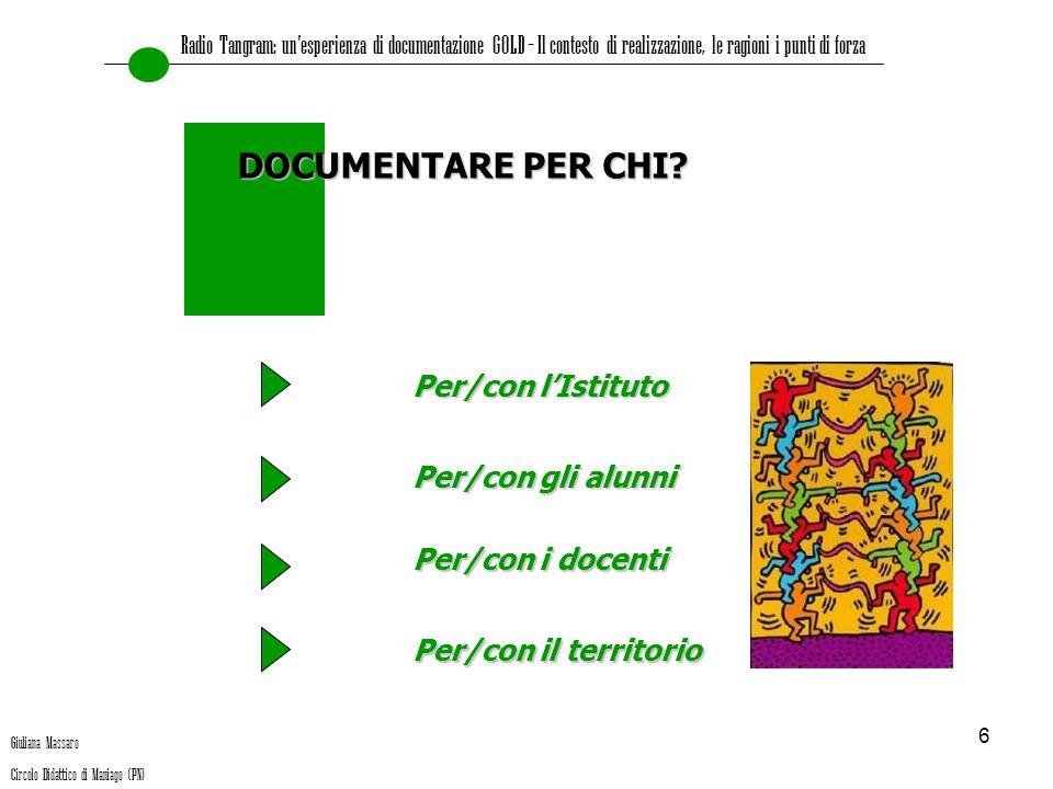 DOCUMENTARE PER CHI Per/con l'Istituto Per/con gli alunni