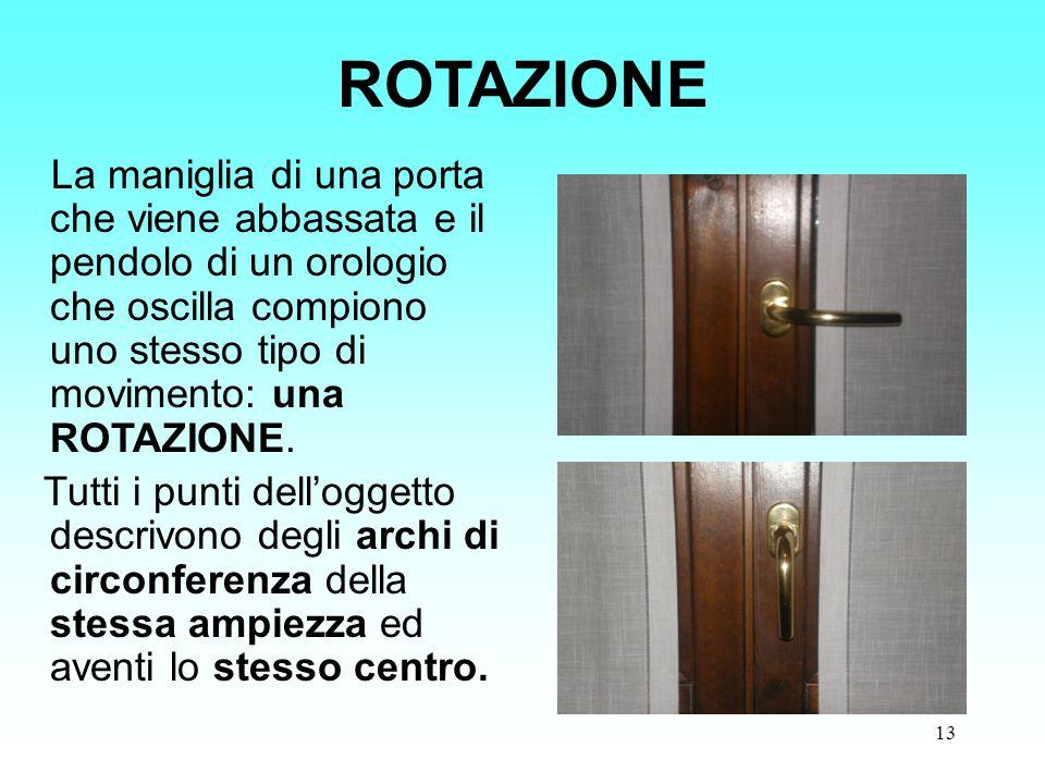 ROTAZIONE La maniglia di una porta che viene abbassata e il pendolo di un orologio che oscilla compiono uno stesso tipo di movimento: una ROTAZIONE.
