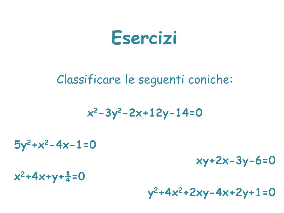 Classificare le seguenti coniche: