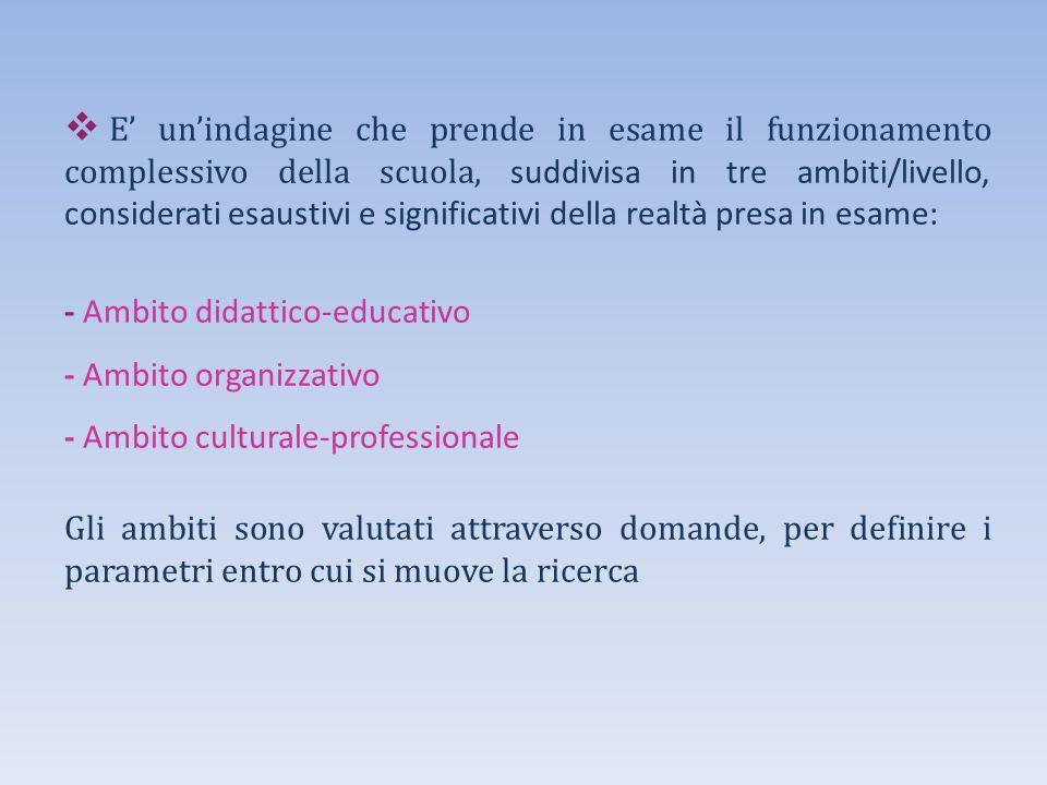 E' un'indagine che prende in esame il funzionamento complessivo della scuola, suddivisa in tre ambiti/livello, considerati esaustivi e significativi della realtà presa in esame: