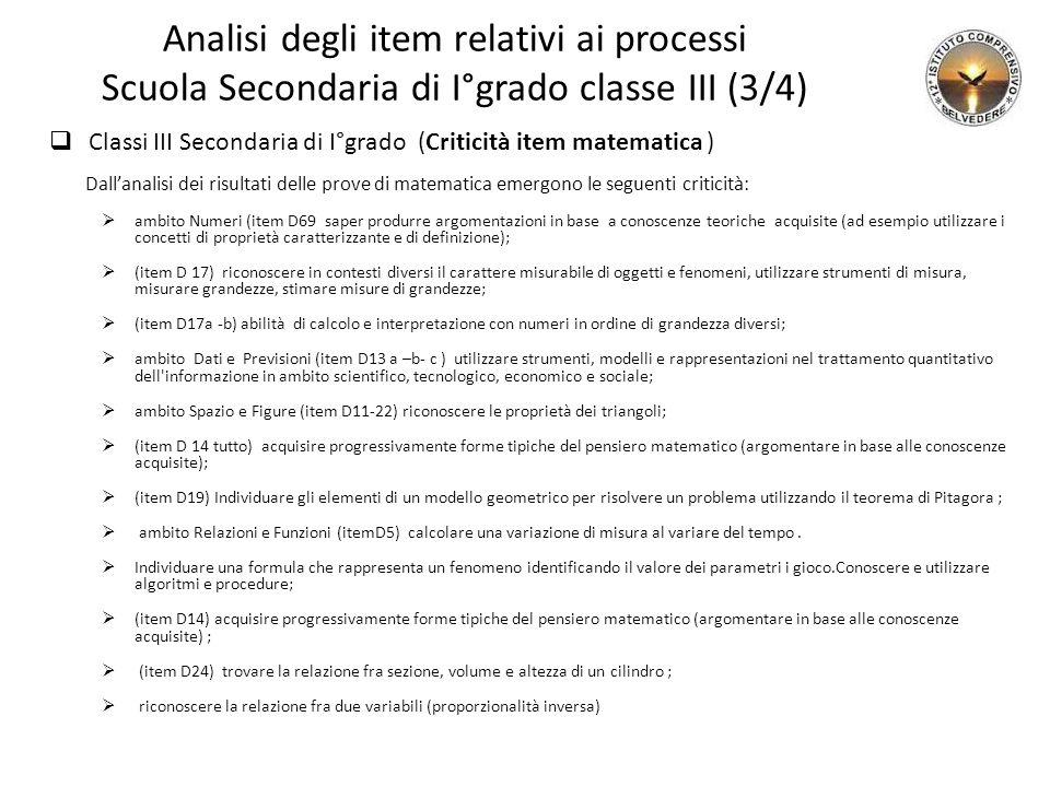 Analisi degli item relativi ai processi Scuola Secondaria di I°grado classe III (3/4)