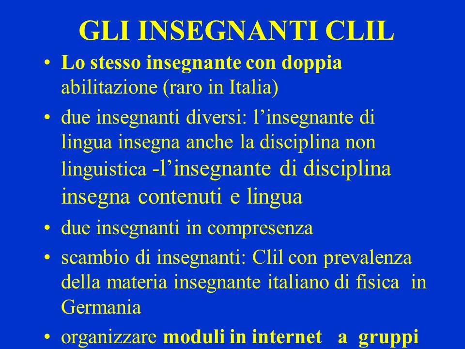 GLI INSEGNANTI CLILLo stesso insegnante con doppia abilitazione (raro in Italia)