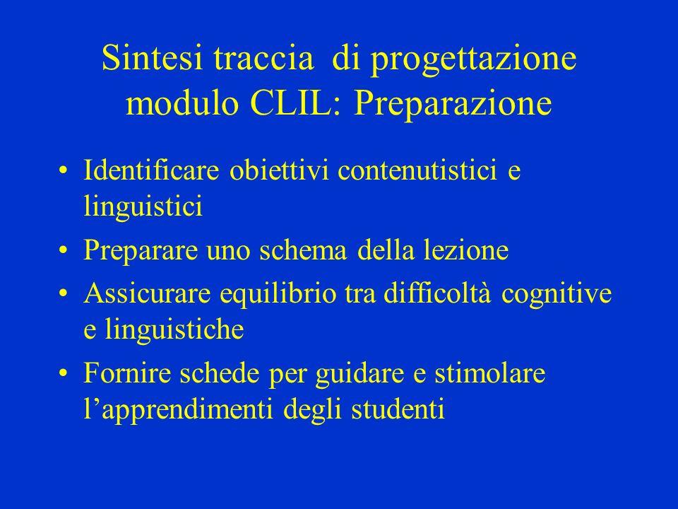Sintesi traccia di progettazione modulo CLIL: Preparazione