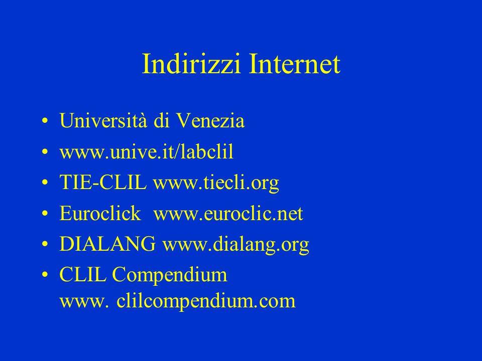 Indirizzi Internet Università di Venezia www.unive.it/labclil