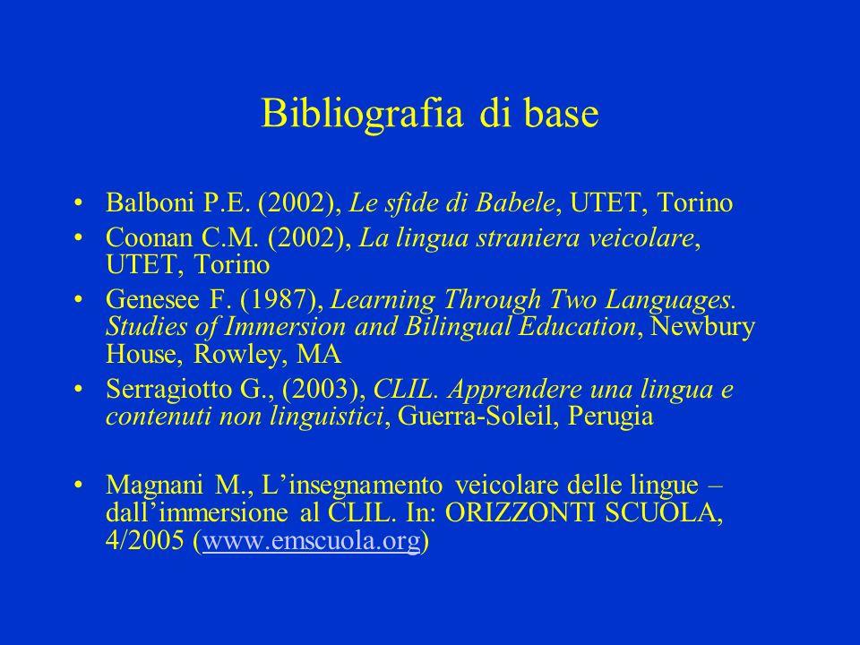 Bibliografia di base Balboni P.E. (2002), Le sfide di Babele, UTET, Torino. Coonan C.M. (2002), La lingua straniera veicolare, UTET, Torino.